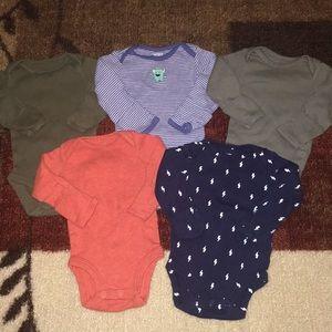 5 Carter's Newborn long sleeve Bodysuits
